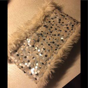 Ann Taylor Loft Reversible Sequin Fur Scarf